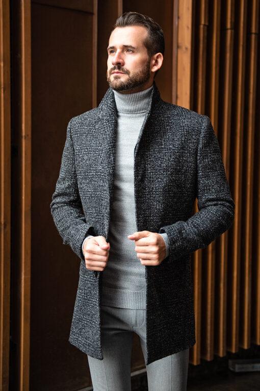Стильное пальто серого цвета воротник стойка. Арт.:1-1763-2