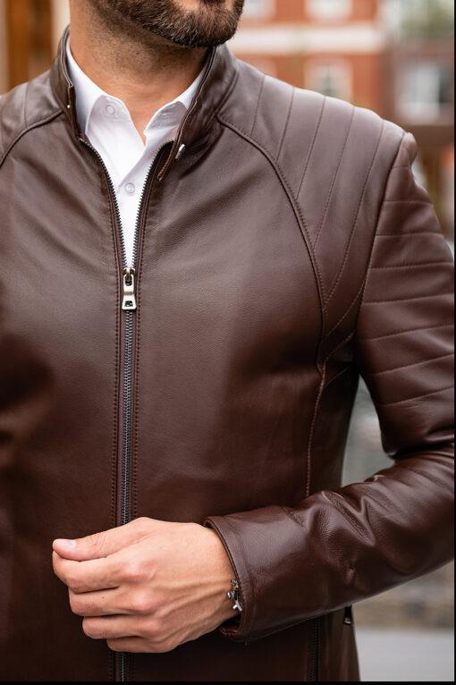 Мужская коричневая кожаная куртка. Арт.:15-1764