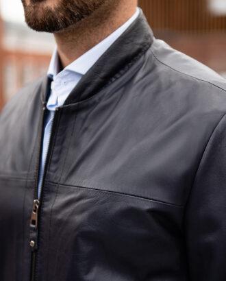 Синяя куртка из натуральной кожи. Арт.:15-1766