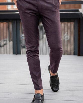 Мужские бордовые брюки в клетку. Арт.:6-1767-3