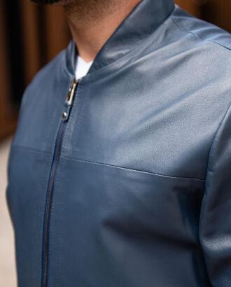 Мужская синяя кожаная куртка. Арт.:15-1768