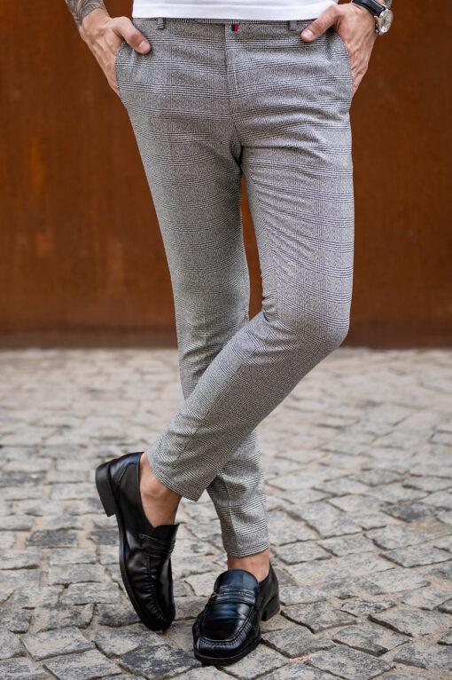 Серые мужские брюки в клетку. Арт.:6-1770-3