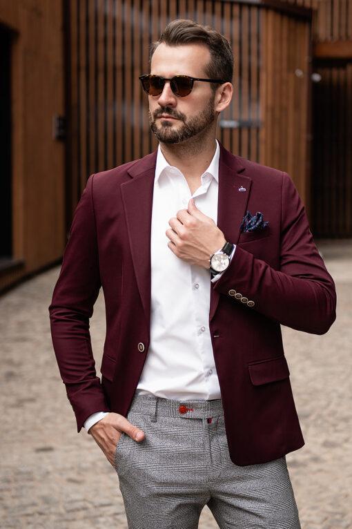 Мужской пиджак бордового цвета. Арт.:2-1772-5