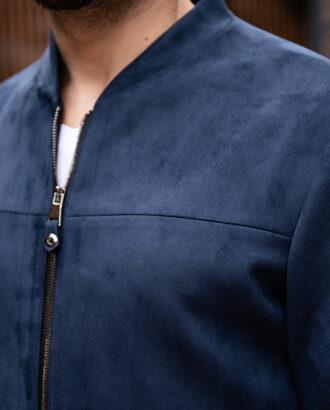 Стильная куртка из нубука синего цвета. Арт.:15-1773
