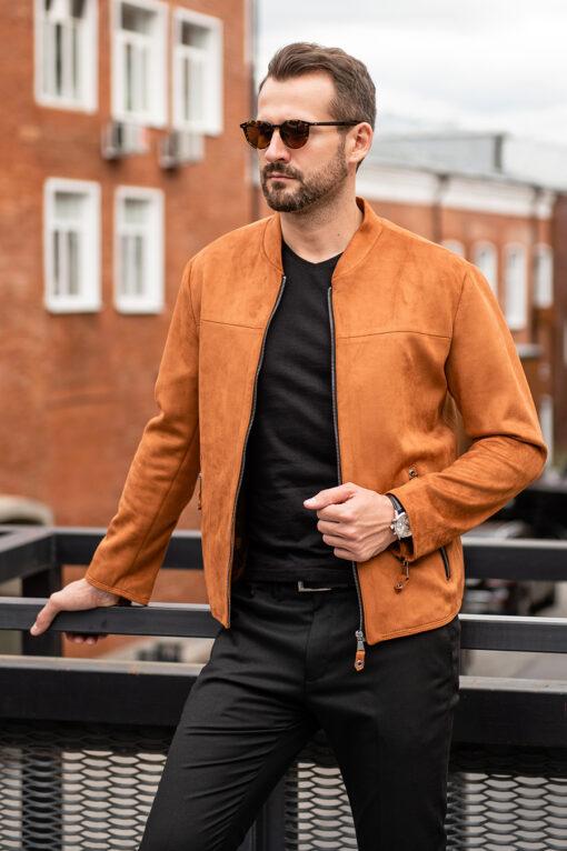 Стильная куртка из нубука терракотового цвета. Арт.:15-1775
