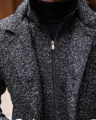 Стильное пальто серого цвета на еврозиму. Арт.:1-1777-2