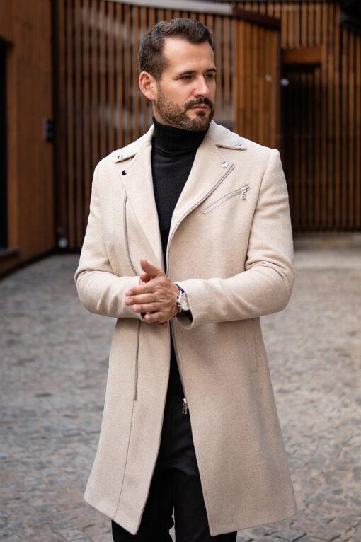 Стильное пальто с косым бортом. Арт.:1-1778-2