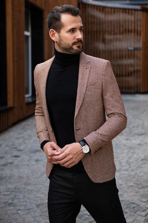 Коричневый мужской пиджак. Арт.:2-1779-2