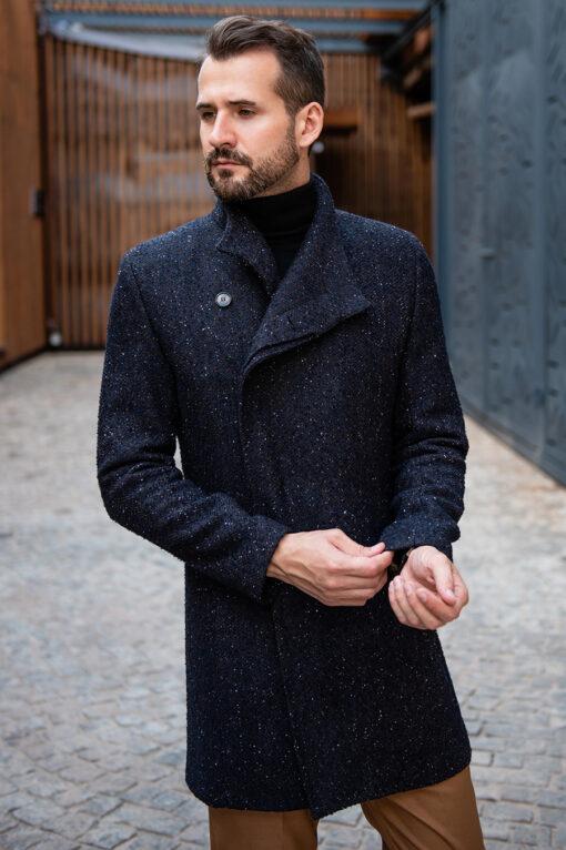 Стильное пальто со скошенным бортом серого цвета. Арт.:1-1783-2