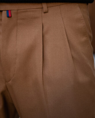 Укороченный стильные брюки горчичного цвета. Арт.:6-1784-3