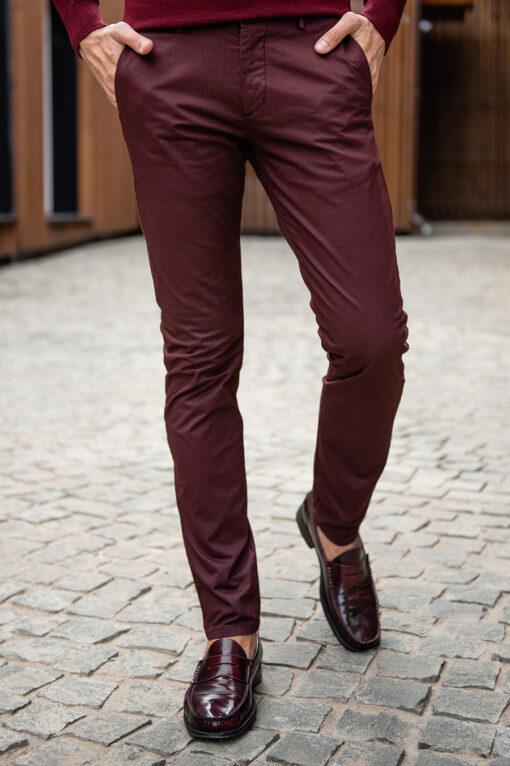 Бордовые брюки чинос без стрелок. Арт.:6-1788-2