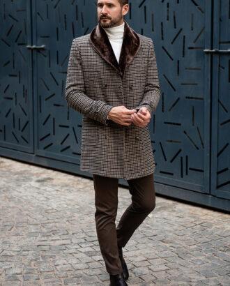 Двубортное пальто в гусиную лапку. Арт.:1-1791-2