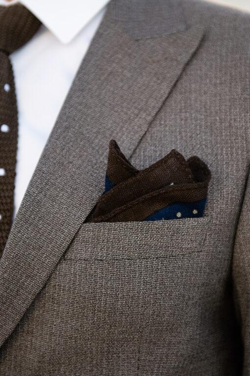 Коричневый приталенный костюм-двойка. Арт.:4-1798-8