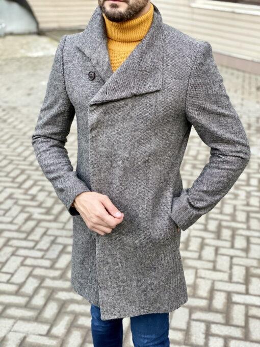 Мужское пальто серого цвета. Арт.:1-1820-2