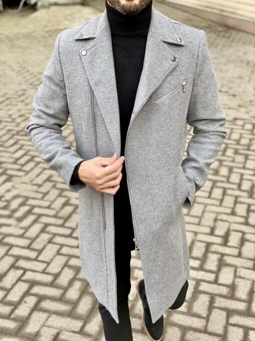 Мужское пальто с косым бортом. Арт.:1-1829-2