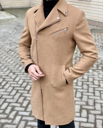 Песочное пальто с косым бортом. Арт.:1-1830-2