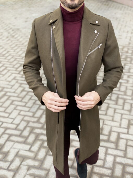 Стильное пальто на молнии. Арт.:1-1832-2