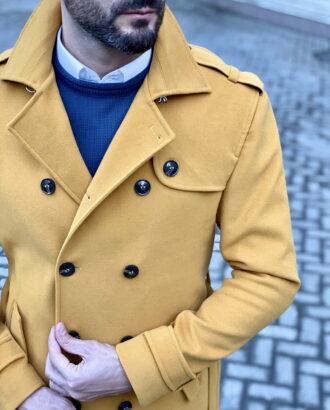 Желтый мужской тренч. Арт.:1-1822-3