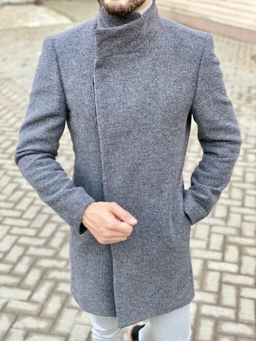 Серое пальто с косым бортом. Арт.:1-1824-2