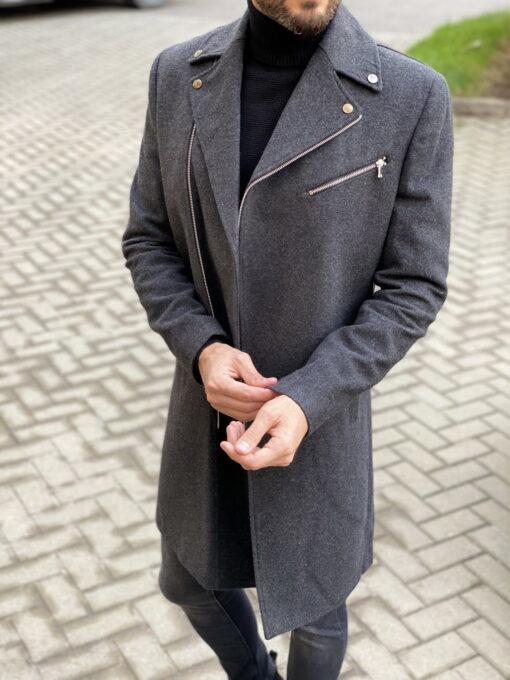 Стильное пальто с косым бортом. Арт.:1-1827-2