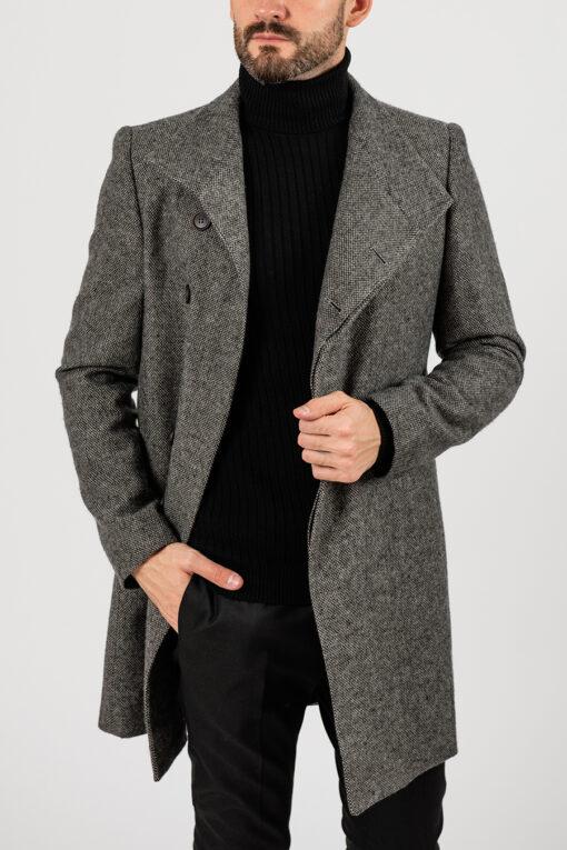 Мужское пальто серо-коричневого цвета. Арт.:1-1837-2