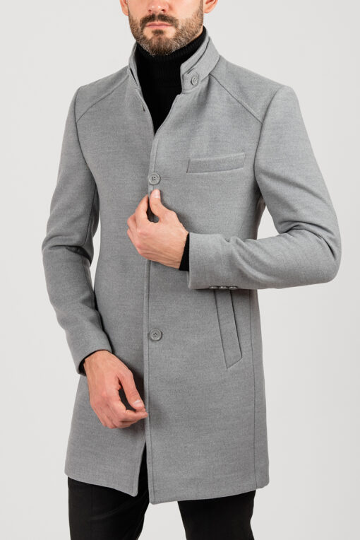 Пальто серого цвета с воротником стойкой. Арт.:1-1839-1