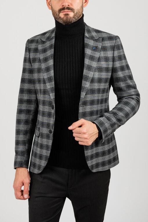 Пиджак серого цвета клетку. Арт.:2-1840-5