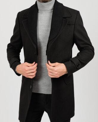 Черное пальто с шалевым и отложным воротником. Арт.:1-1842-1
