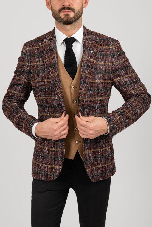 Стильный фактурный пиджак в клетку. Арт.:2-1843-5