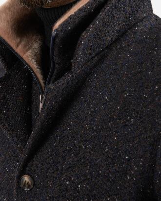 Темное фактурное пальто. Арт.:1-1845-2