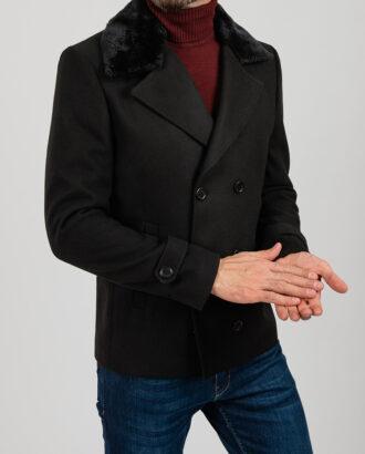 Чёрное  укороченное пальто,  приталенного кроя. Арт.:1-1846-1