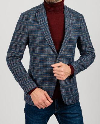 Пиджак синего цвета в контрастную клетку. Арт.:2-1847-3