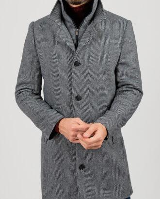 """Зимнее пальто, серого цвета с рисунком """"ёлочка"""". Арт.:1-1848-2"""
