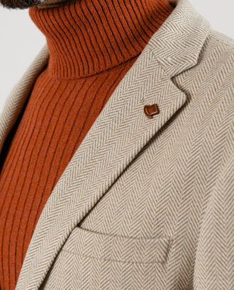 Мужской пиджак бежевого цвета. Арт.:2-1859-3