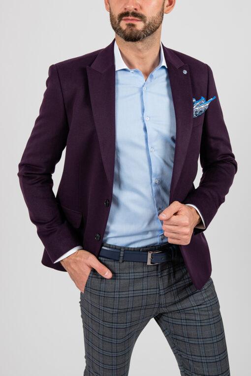 Приталенный фиолетовый пиджак из эластичной ткани. Арт.:2-1863-8