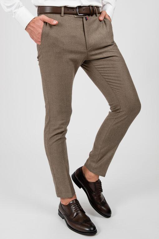 Зауженные брюки бежевого цвета. Арт.:6-1865-3