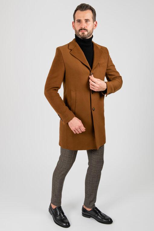 Мужское зимнее пальто, горчичного цвета. Арт.:1-1867-10