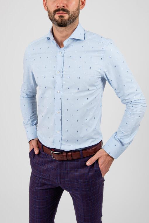 Рубашка голубого цвета с принтом. Арт.:5-1868-3