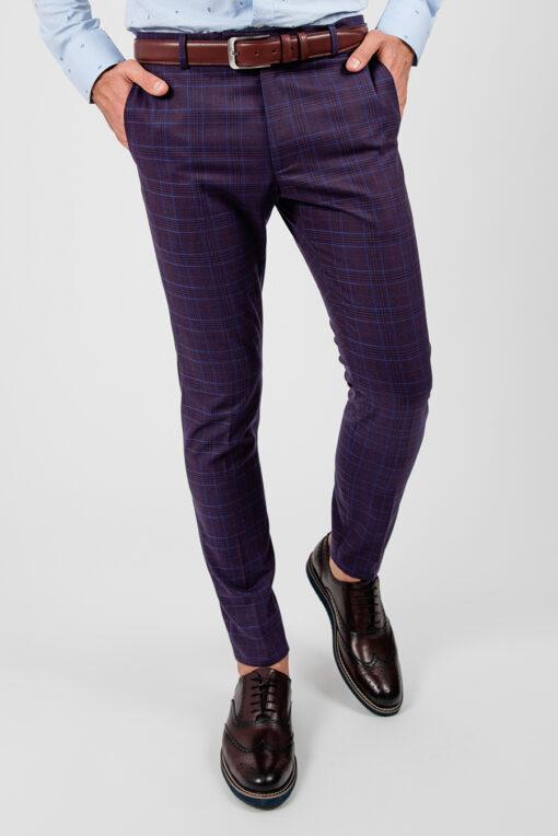 Мужские фиолетовые брюки в контрастную клетку. Арт.:6-1869-3