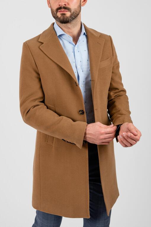Горчичное мужское пальто на зиму. Арт.:1-1872-10