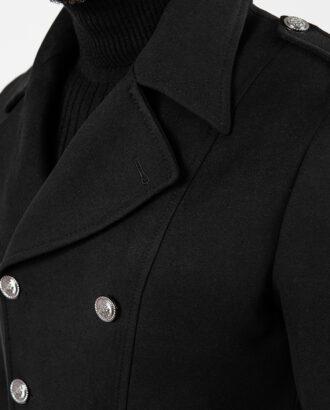 Мужское двубортное зимнее пальто, чёрного цвета. Арт.:1-1877-10