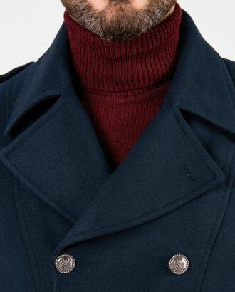 Утепленное пальто-шинель синего цвета. Арт.:1-1879-10