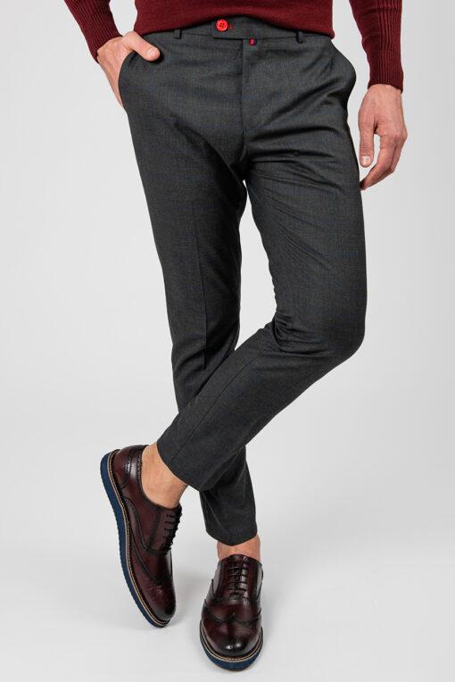 Серые брюки в крупную синюю клетку. Арт.:6-1881-3