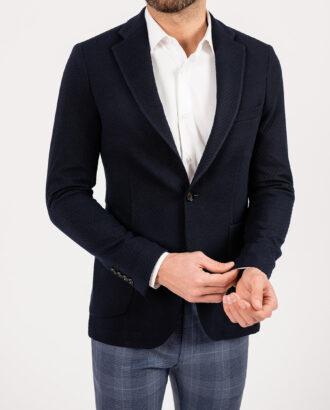 Фактурный пиджак темно-синего цвета. Арт.:2-1903-3