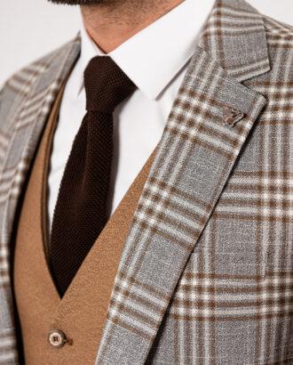 Пиджак серого цвета в контрастную клетку. Арт.:2-1904-1