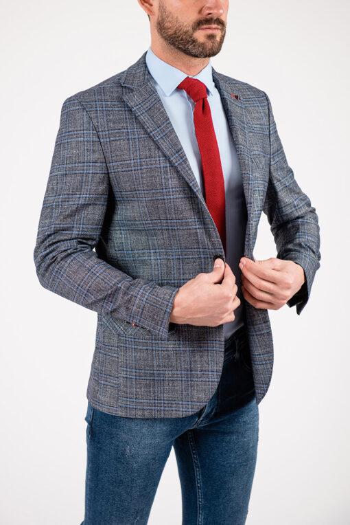 Серый пиджак в голубую клетку. Арт.:2-1912-22