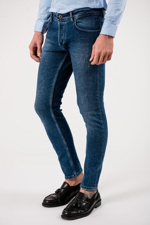 Мужские джинсы синего цвета зауженного кроя. Арт.:7-1914
