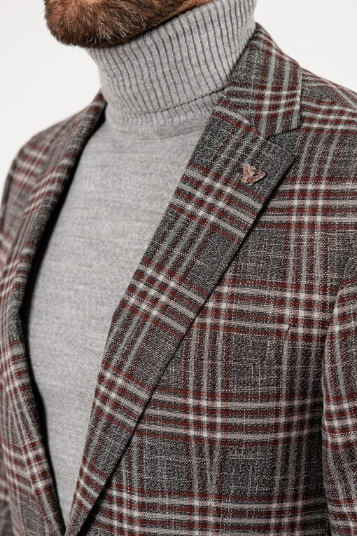Мужской серый пиджак в клетку. Арт.:2-1916-1