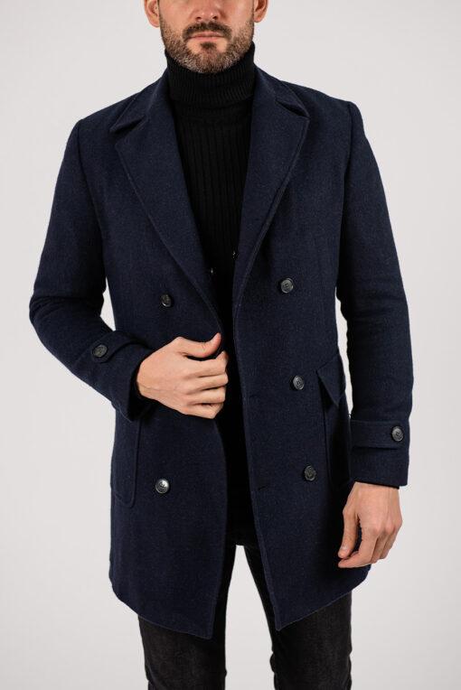 Двубортное пальто темно-синего цвета. Арт.:1-1925-2