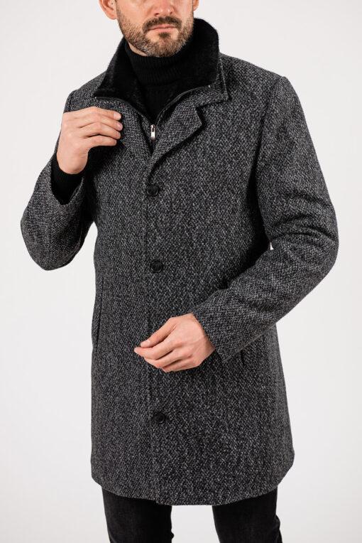 Мужское пальто с воротником стойкой. Арт.:1-1928-2